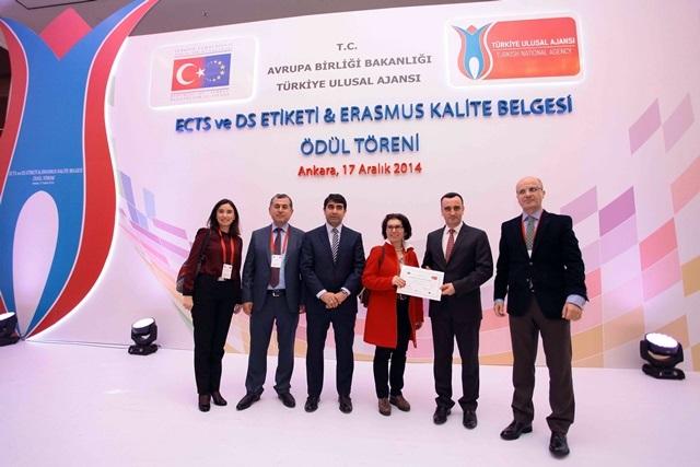 Üniversitemiz Erasmus Kalite Ödülü Aldı