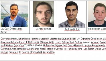 Mühendislik Fakültesi Elektrik-Elektronik Mühendisliği Öğrencilerimizin TÜBİTAK Proje Başarıları